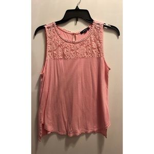 🌸✨Medium Pink Tank with lace style detail